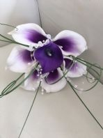 ARTIFICIAL PURPLE WHITE FOAM CALLA LILY WEDDING FLOWERS BRIDESMAID BOUQUET POSIE